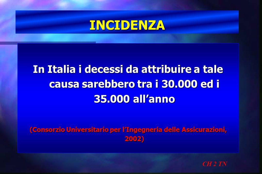 INCIDENZA CH 2 TN In Italia i decessi da attribuire a tale causa sarebbero tra i 30.000 ed i 35.000 allanno (Consorzio Universitario per lIngegneria d