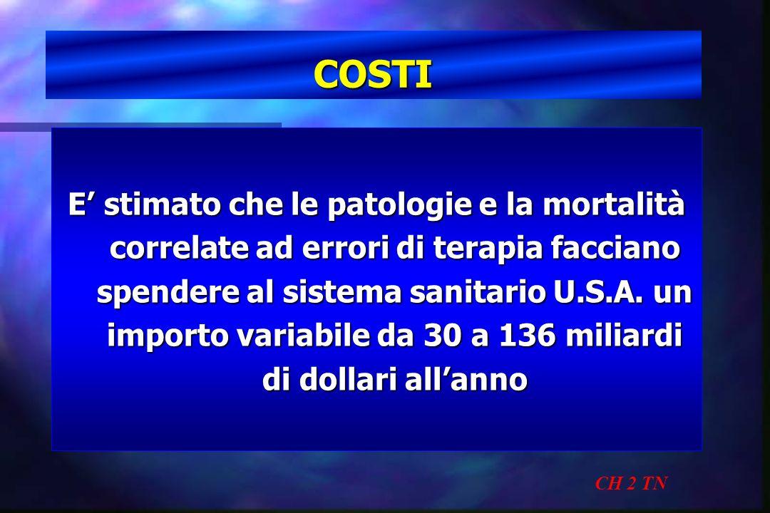 COSTI CH 2 TN E stimato che le patologie e la mortalità correlate ad errori di terapia facciano spendere al sistema sanitario U.S.A. un importo variab