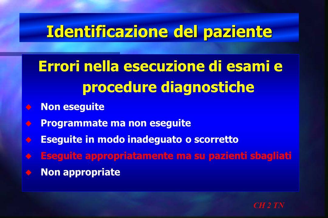 Identificazione del paziente CH 2 TN Errori nella esecuzione di esami e procedure diagnostiche u u Non eseguite u u Programmate ma non eseguite u u Es