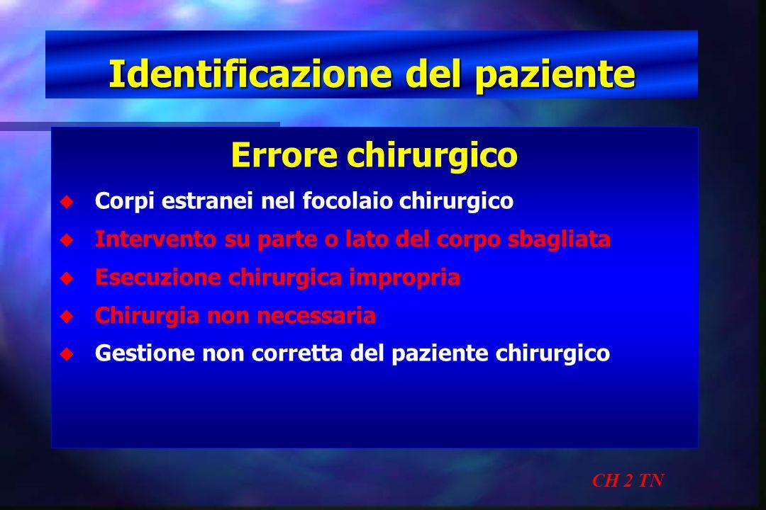 Identificazione del paziente CH 2 TN Errore chirurgico u u Corpi estranei nel focolaio chirurgico u u Intervento su parte o lato del corpo sbagliata u