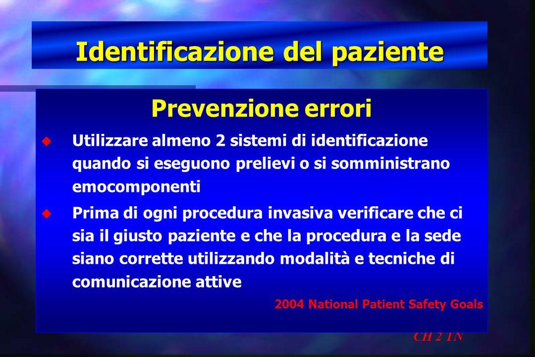Identificazione del paziente CH 2 TN Prevenzione errori u u Utilizzare almeno 2 sistemi di identificazione quando si eseguono prelievi o si somministr