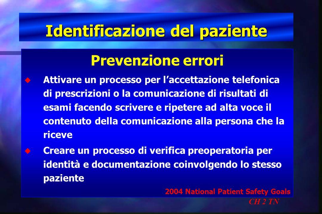 Identificazione del paziente CH 2 TN Prevenzione errori u u Attivare un processo per laccettazione telefonica di prescrizioni o la comunicazione di ri