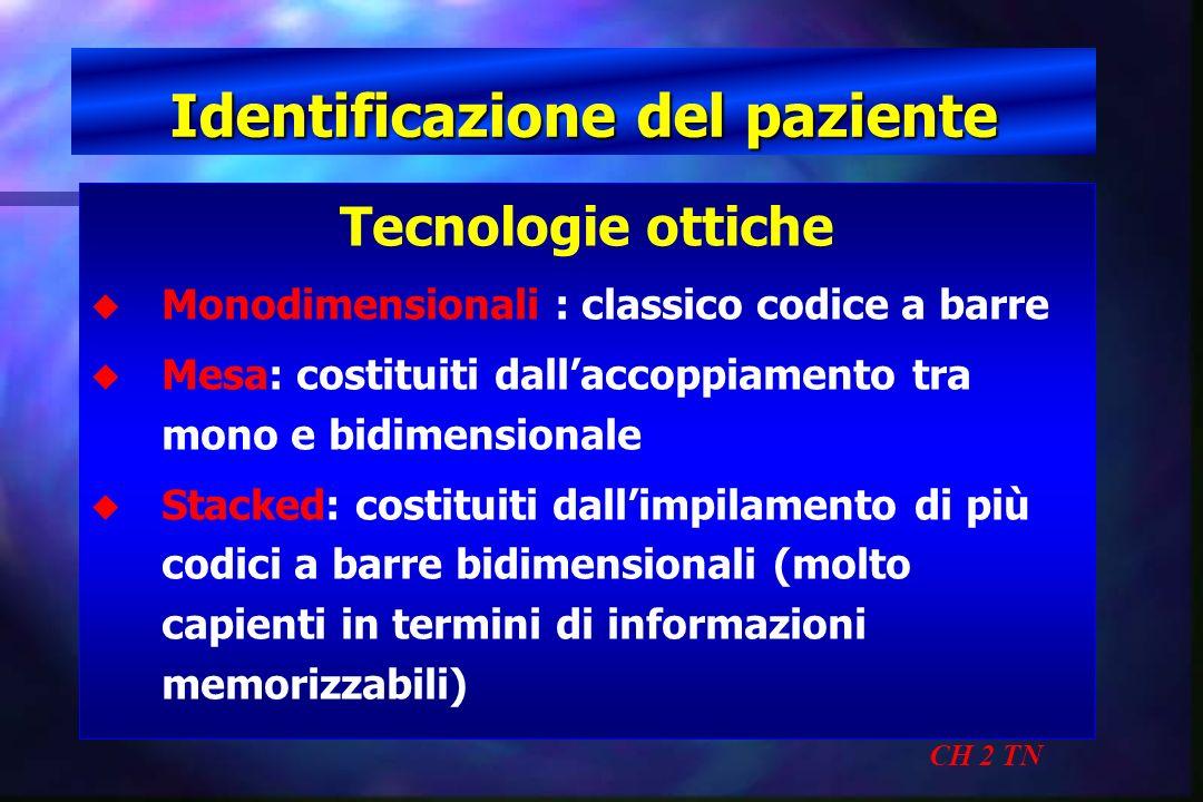 Identificazione del paziente CH 2 TN Tecnologie ottiche u u Monodimensionali : classico codice a barre u u Mesa: costituiti dallaccoppiamento tra mono