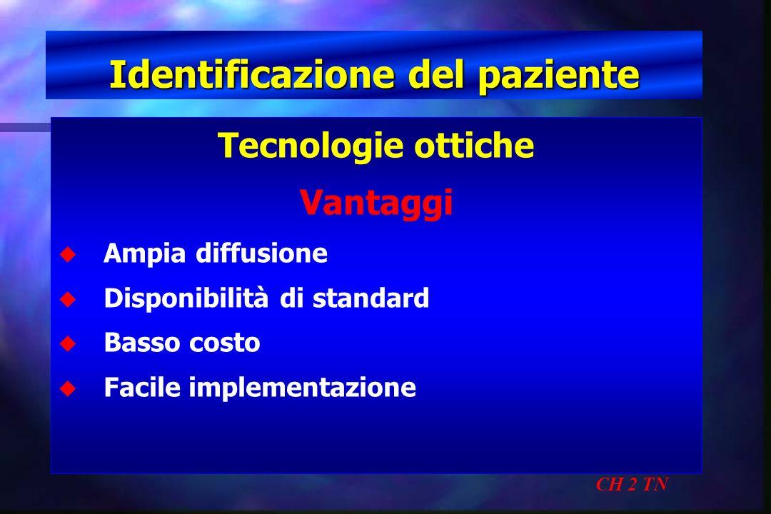 Identificazione del paziente CH 2 TN Tecnologie ottiche Vantaggi u u Ampia diffusione u u Disponibilità di standard u u Basso costo u u Facile impleme