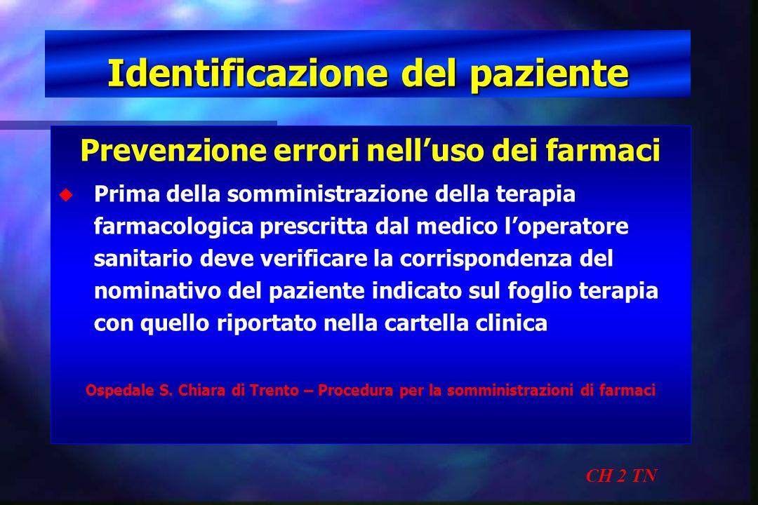 Identificazione del paziente CH 2 TN Prevenzione errori nelluso dei farmaci u u Prima della somministrazione della terapia farmacologica prescritta da