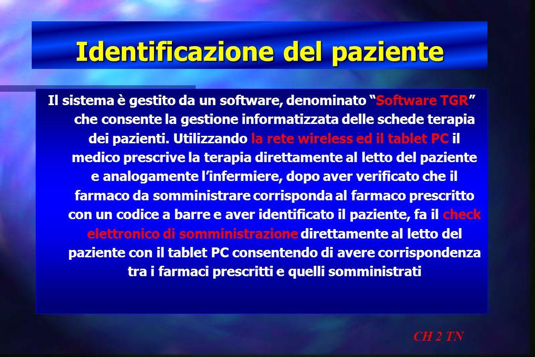 Identificazione del paziente CH 2 TN Il sistema è gestito da un software, denominato Software TGR che consente la gestione informatizzata delle schede