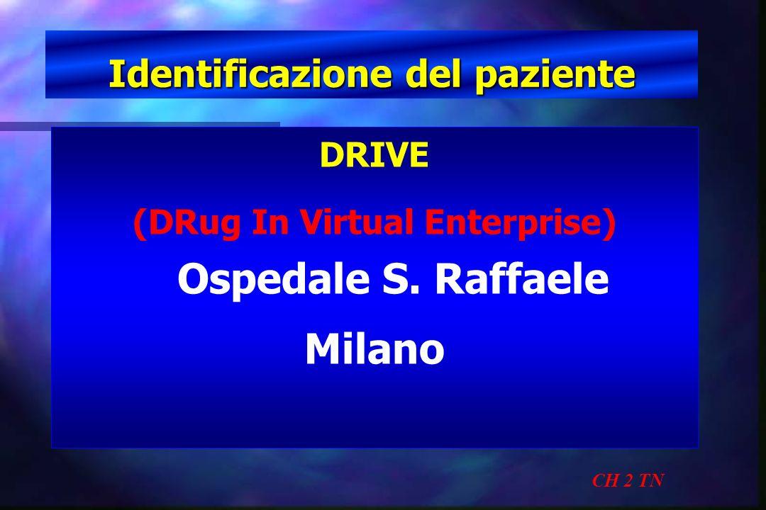 Identificazione del paziente CH 2 TN DRIVE (DRug In Virtual Enterprise) Ospedale S. Raffaele Milano