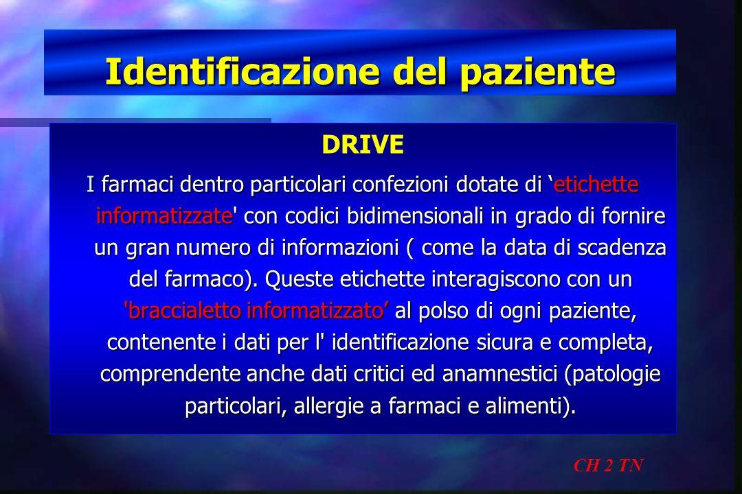 Identificazione del paziente CH 2 TN DRIVE I farmaci dentro particolari confezioni dotate di etichette informatizzate' con codici bidimensionali in gr