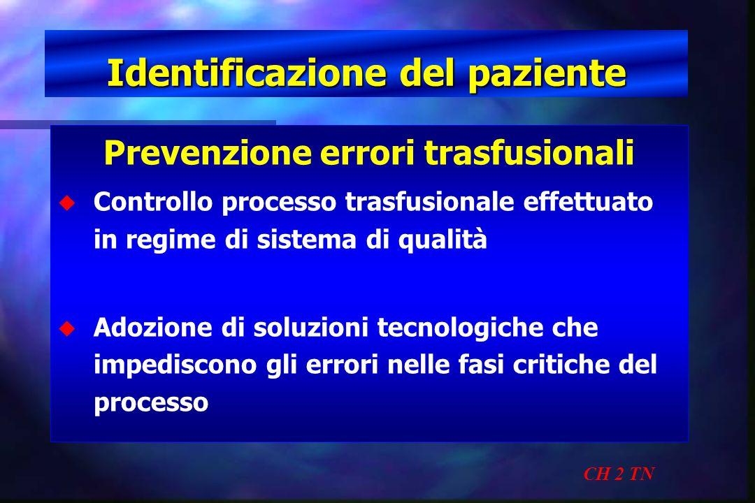 Identificazione del paziente CH 2 TN Prevenzione errori trasfusionali u u Controllo processo trasfusionale effettuato in regime di sistema di qualità