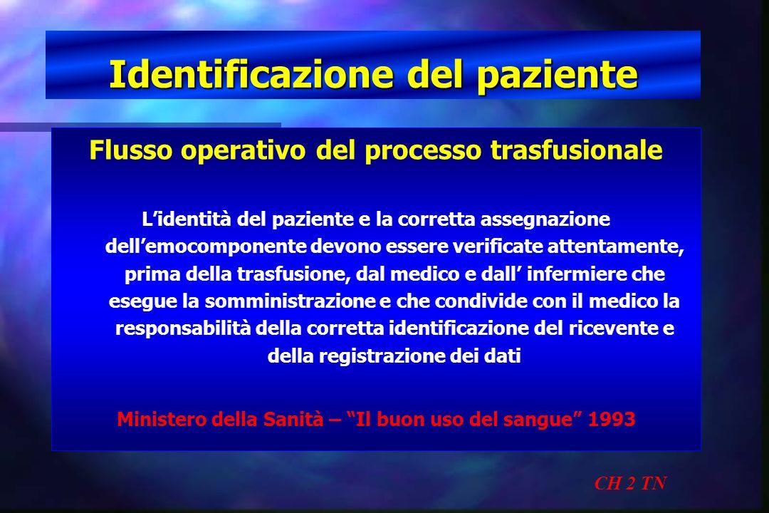 Identificazione del paziente CH 2 TN Flusso operativo del processo trasfusionale Lidentità del paziente e la corretta assegnazione dellemocomponente d