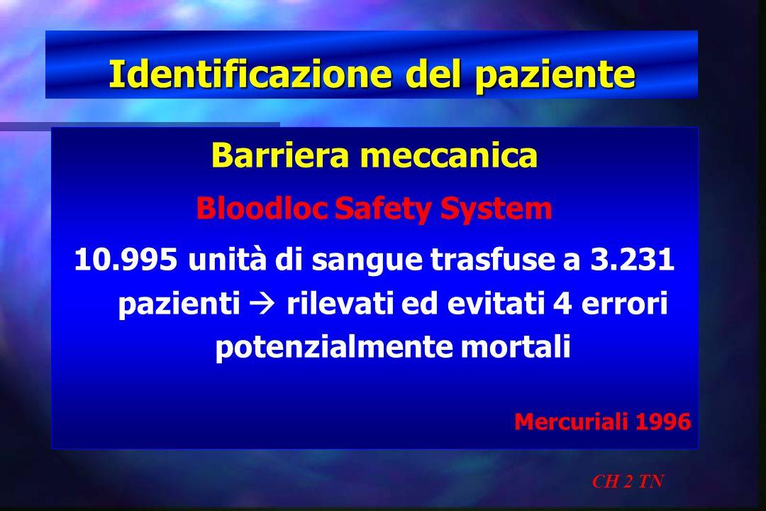 Identificazione del paziente CH 2 TN Barriera meccanica Bloodloc Safety System 10.995 unità di sangue trasfuse a 3.231 pazienti rilevati ed evitati 4