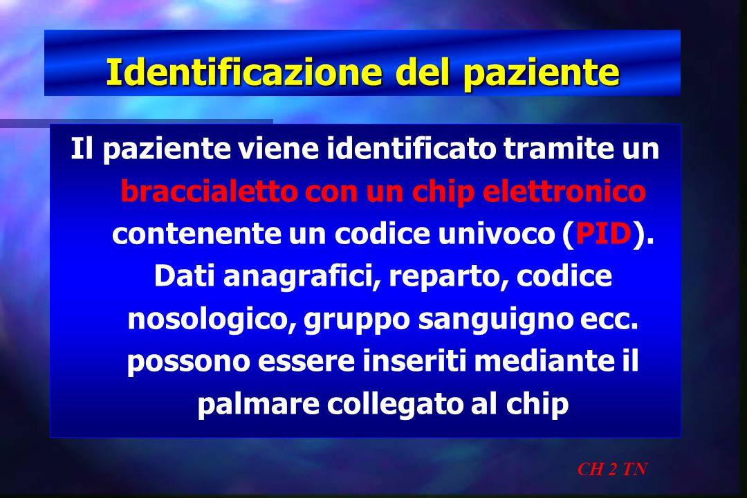 Identificazione del paziente CH 2 TN Il paziente viene identificato tramite un braccialetto con un chip elettronico contenente un codice univoco (PID)