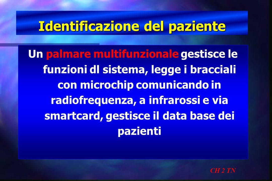 Identificazione del paziente CH 2 TN Un palmare multifunzionale gestisce le funzioni dl sistema, legge i bracciali con microchip comunicando in radiof
