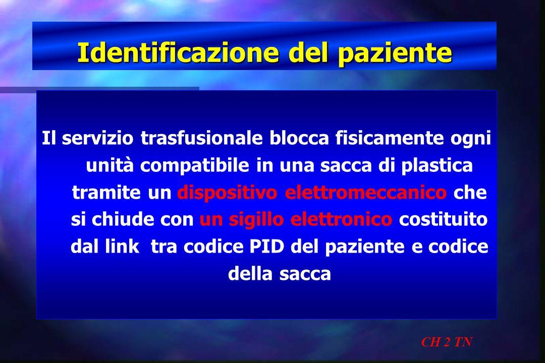 Identificazione del paziente CH 2 TN Il servizio trasfusionale blocca fisicamente ogni unità compatibile in una sacca di plastica tramite un dispositi