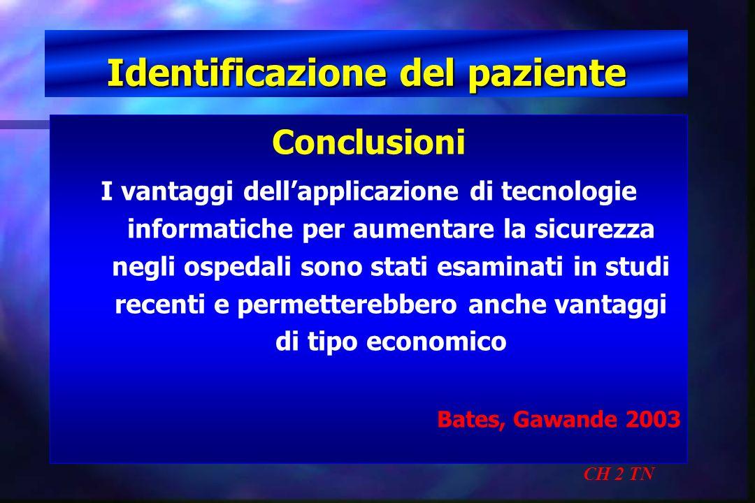 Identificazione del paziente CH 2 TN Conclusioni I vantaggi dellapplicazione di tecnologie informatiche per aumentare la sicurezza negli ospedali sono