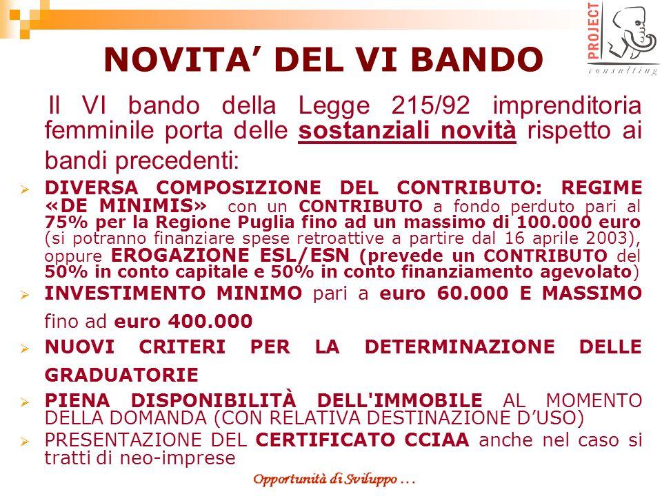 RISORSE DISPONIBILI Risorse nazionali: 88,5 milioni di Euro Regione Puglia: 10,45 milioni di Euro BENEFICIARI Piccole Medie Imprese (P.M.I.) a prevalente partecipazione femminile operanti sul territorio nazionale nei settori dellAGRICOLTURA, MANIFATTURIERO ed assimilati, COMMERCIO, TURISMO e SERVIZI.