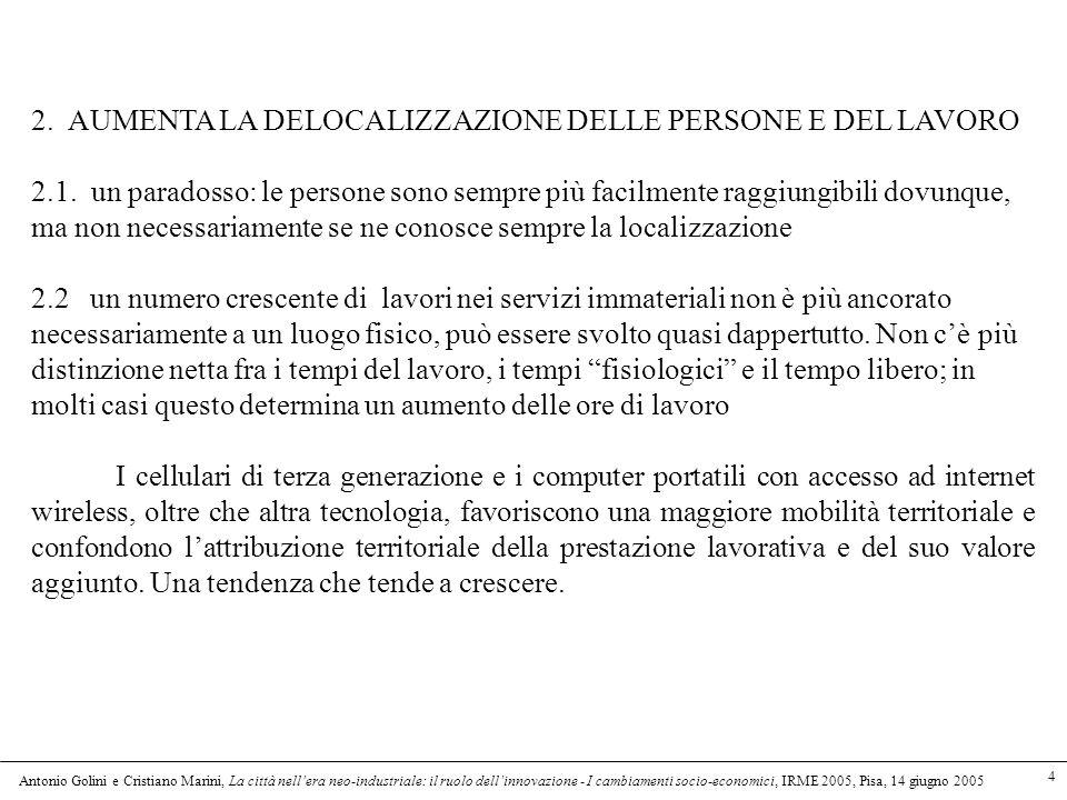 Antonio Golini e Cristiano Marini, La città nellera neo-industriale: il ruolo dellinnovazione - I cambiamenti socio-economici, IRME 2005, Pisa, 14 giugno 2005 4 2.