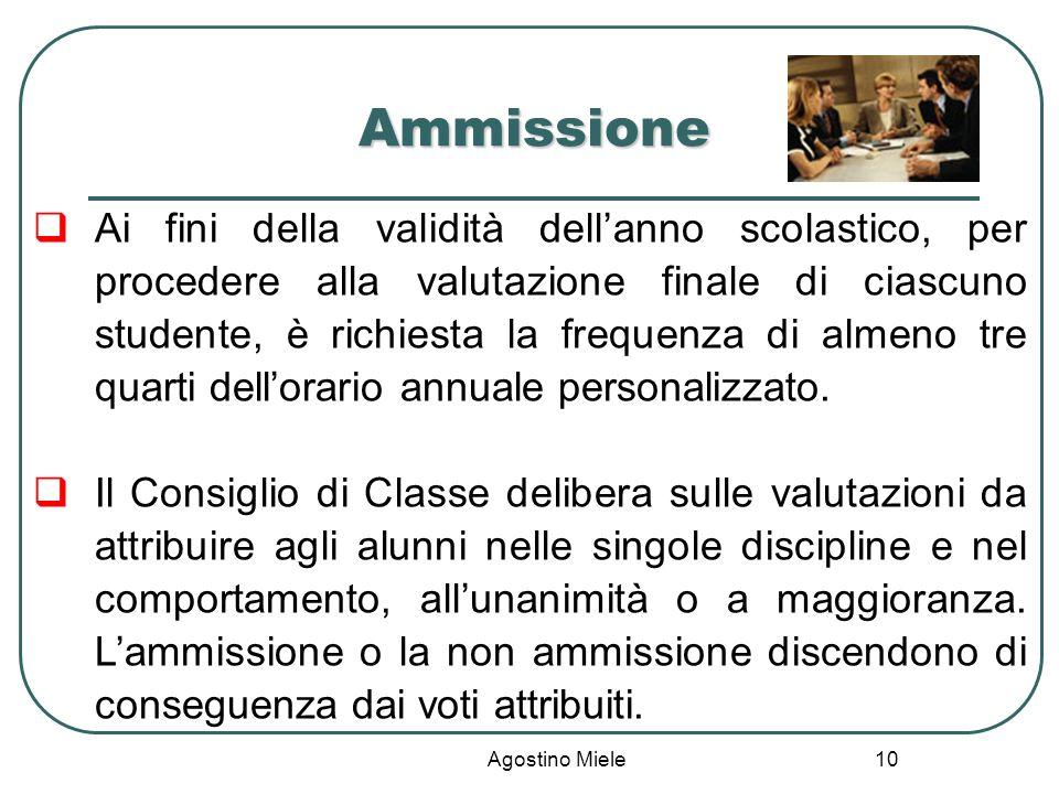 Agostino Miele Ammissione Ai fini della validità dellanno scolastico, per procedere alla valutazione finale di ciascuno studente, è richiesta la frequ