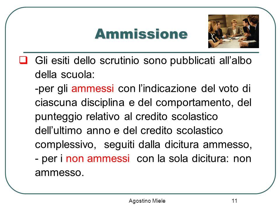 Agostino Miele Ammissione Gli esiti dello scrutinio sono pubblicati allalbo della scuola: -per gli ammessi con lindicazione del voto di ciascuna disci