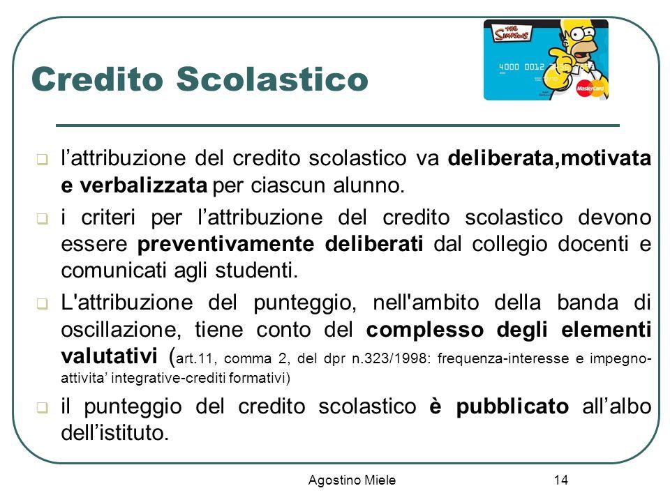 Agostino Miele Credito Scolastico lattribuzione del credito scolastico va deliberata,motivata e verbalizzata per ciascun alunno. i criteri per lattrib