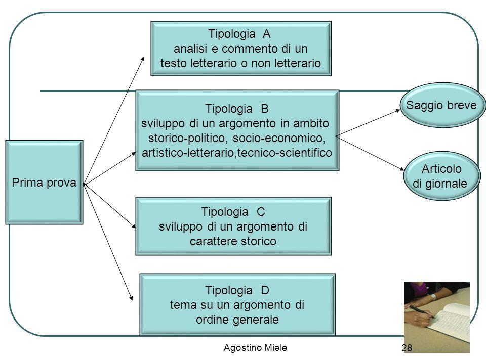 Prima prova Tipologia A analisi e commento di un testo letterario o non letterario Tipologia B sviluppo di un argomento in ambito storico-politico, so