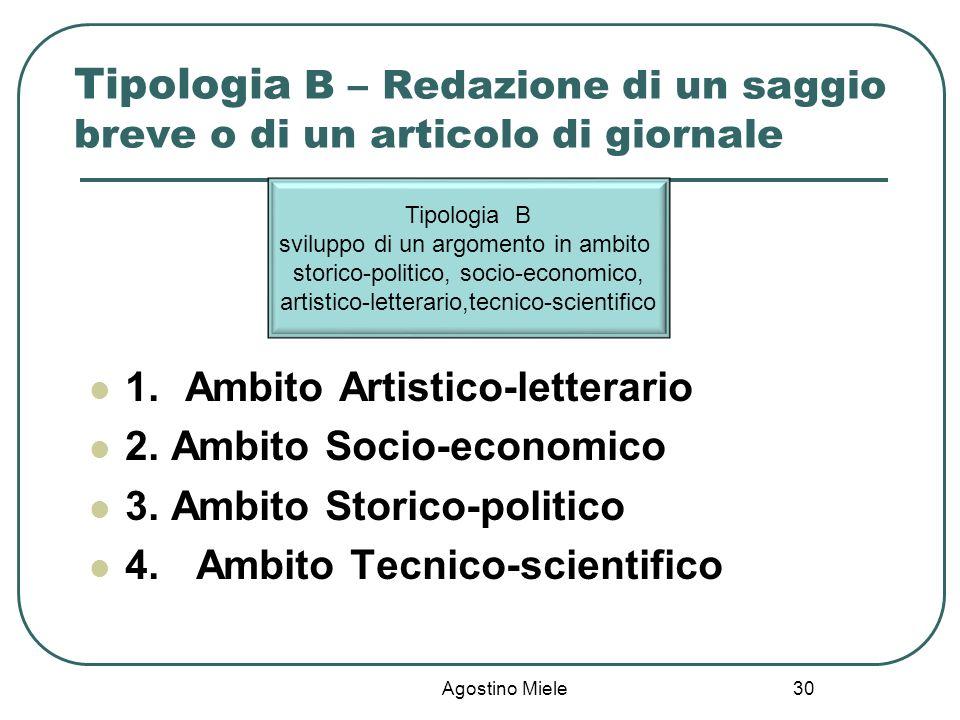 Tipologia B – Redazione di un saggio breve o di un articolo di giornale 1.Ambito Artistico-letterario 2. Ambito Socio-economico 3. Ambito Storico-poli