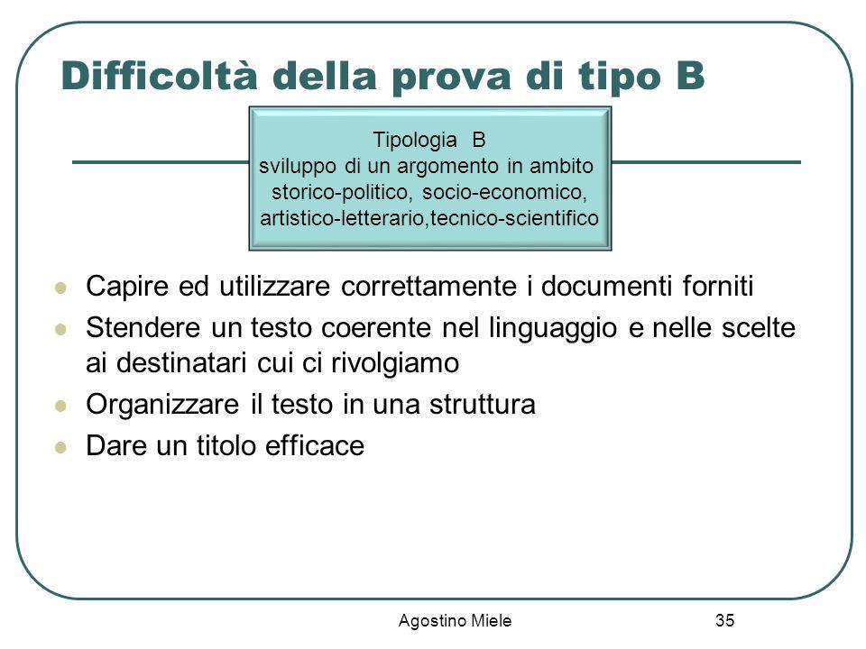 Difficoltà della prova di tipo B Capire ed utilizzare correttamente i documenti forniti Stendere un testo coerente nel linguaggio e nelle scelte ai de