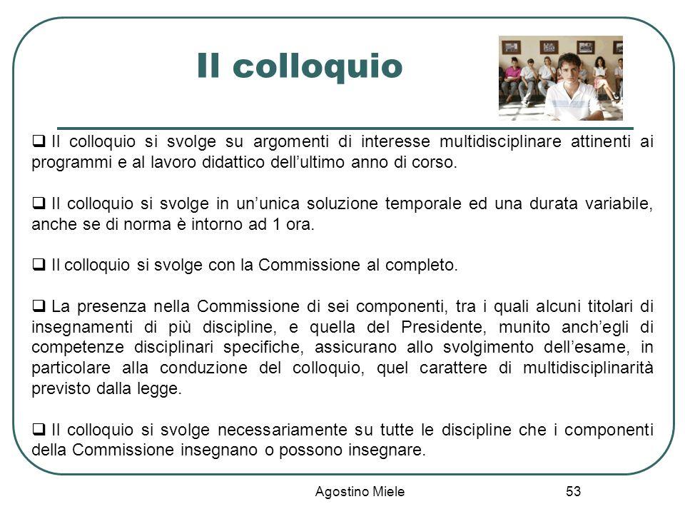 Agostino Miele Il colloquio Il colloquio si svolge su argomenti di interesse multidisciplinare attinenti ai programmi e al lavoro didattico dellultimo