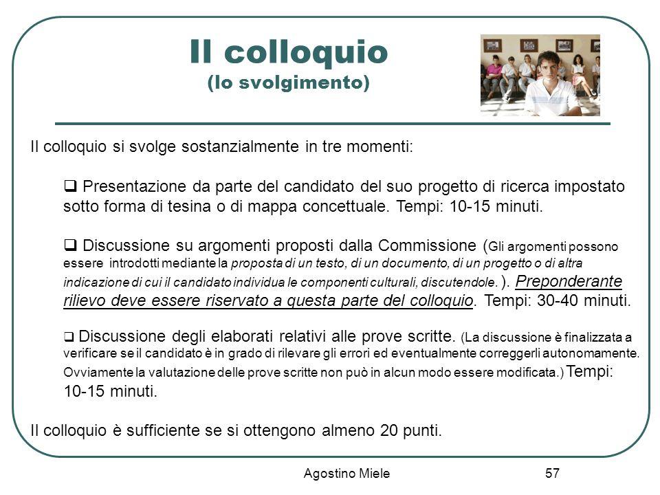 Agostino Miele Il colloquio (lo svolgimento) Il colloquio si svolge sostanzialmente in tre momenti: Presentazione da parte del candidato del suo proge