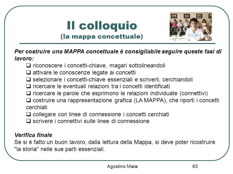 Agostino Miele Il colloquio (la mappa concettuale) Per costruire una MAPPA concettuale è consigliabile seguire queste fasi di lavoro: riconoscere i co