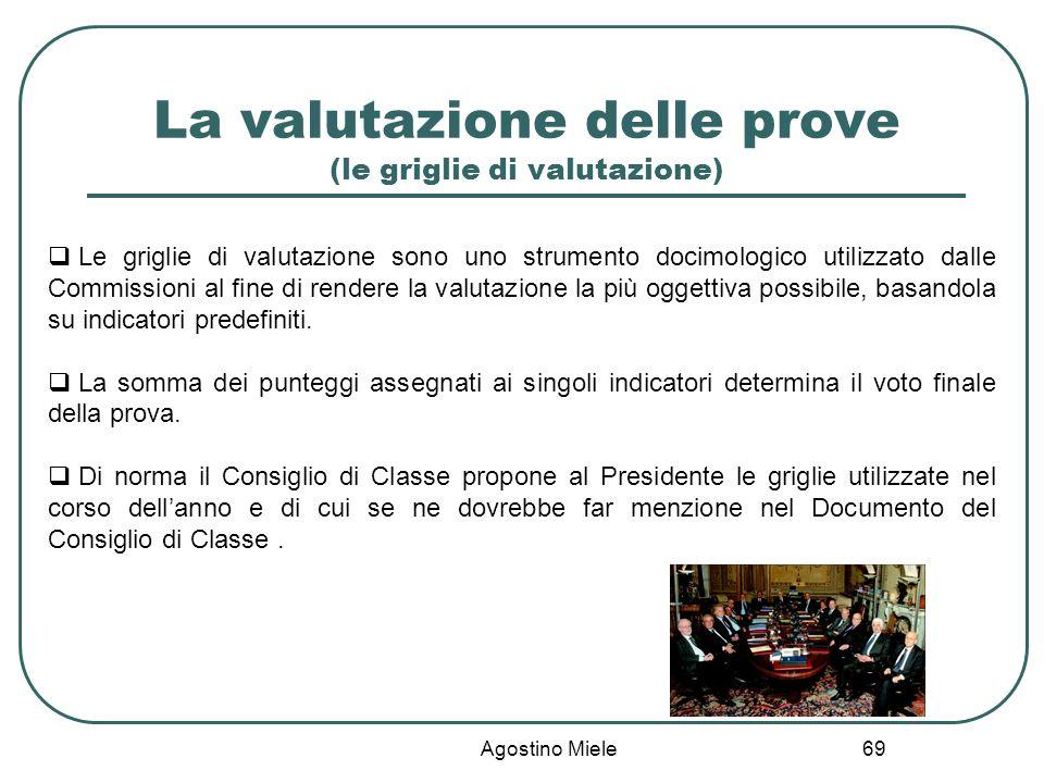 La valutazione delle prove (le griglie di valutazione) Agostino Miele Le griglie di valutazione sono uno strumento docimologico utilizzato dalle Commi