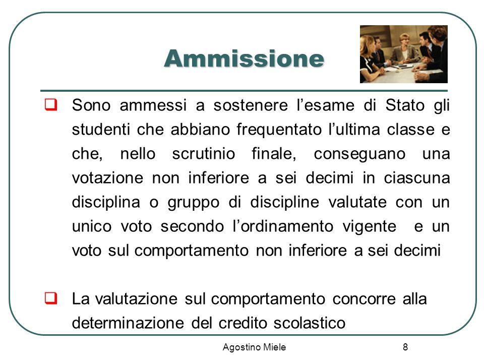 Agostino Miele Ammissione Sono ammessi a sostenere lesame di Stato gli studenti che abbiano frequentato lultima classe e che, nello scrutinio finale,