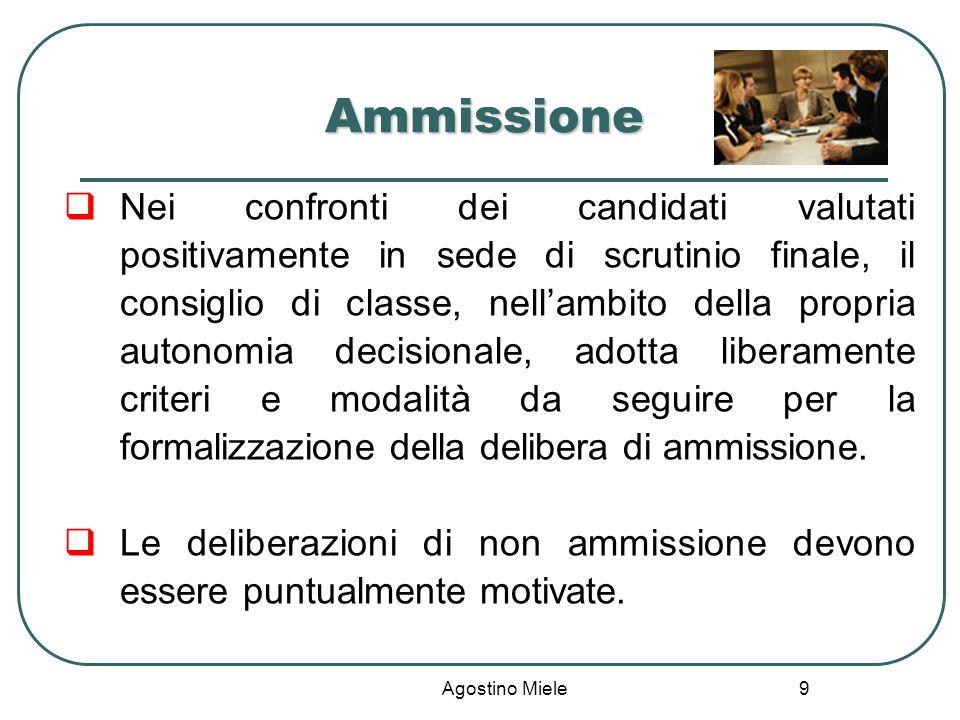 Agostino Miele Ammissione Nei confronti dei candidati valutati positivamente in sede di scrutinio finale, il consiglio di classe, nellambito della pro