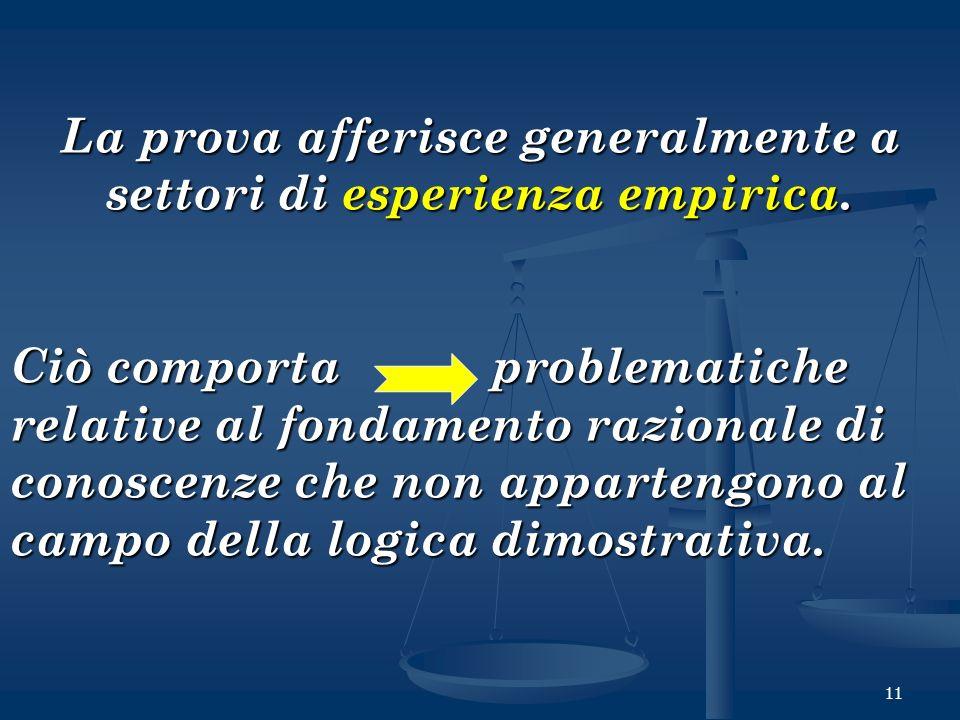 11 La prova afferisce generalmente a settori di esperienza empirica. Ciò comporta problematiche relative al fondamento razionale di conoscenze che non