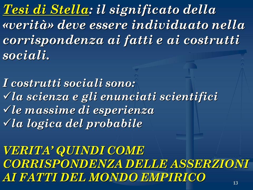 13 Tesi di Stella: il significato della «verità» deve essere individuato nella corrispondenza ai fatti e ai costrutti sociali. I costrutti sociali son