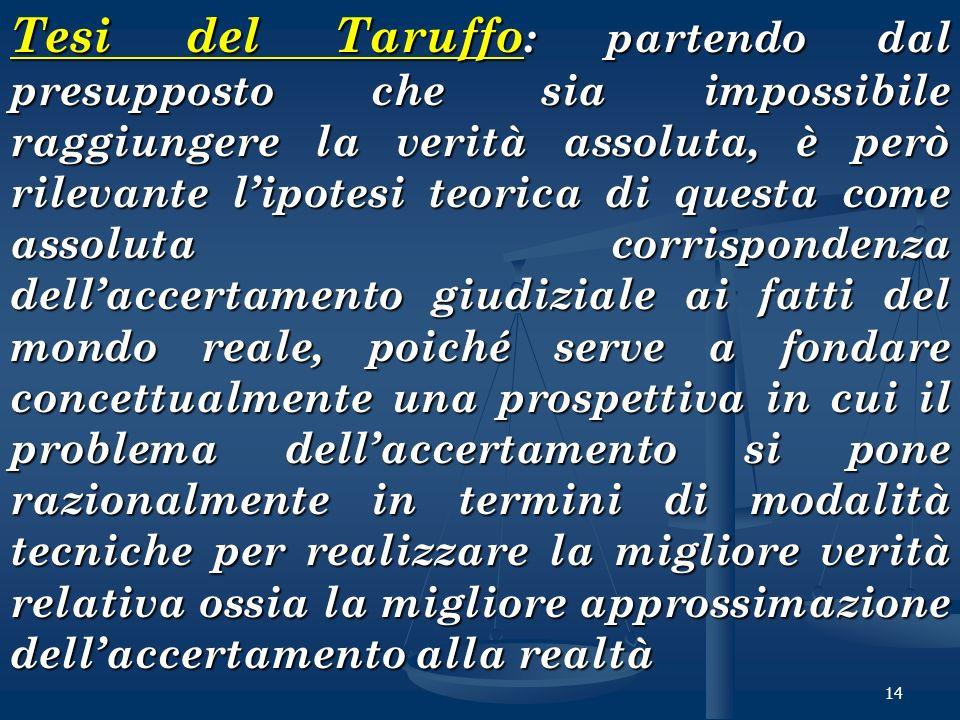 14 Tesi del Taruffo : partendo dal presupposto che sia impossibile raggiungere la verità assoluta, è però rilevante lipotesi teorica di questa come as