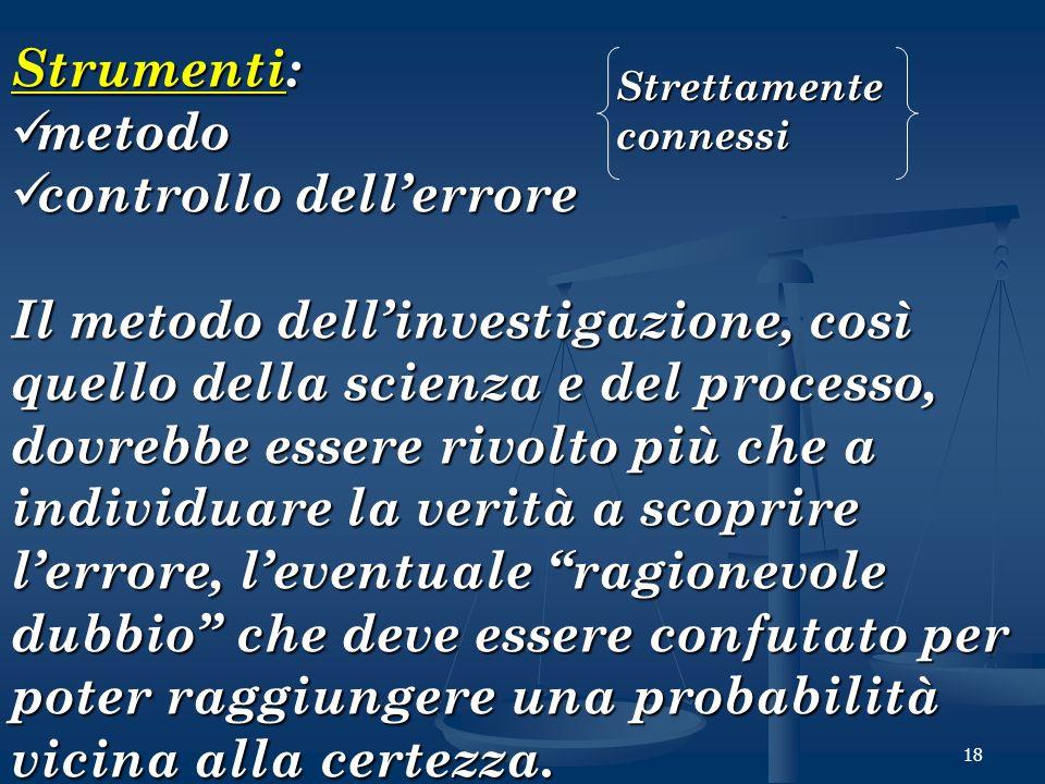 18 Strumenti: metodo metodo controllo dellerrore controllo dellerrore Il metodo dellinvestigazione, così quello della scienza e del processo, dovrebbe