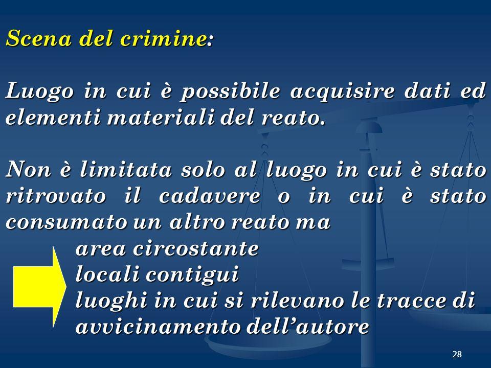 28 Scena del crimine: Luogo in cui è possibile acquisire dati ed elementi materiali del reato. Non è limitata solo al luogo in cui è stato ritrovato i