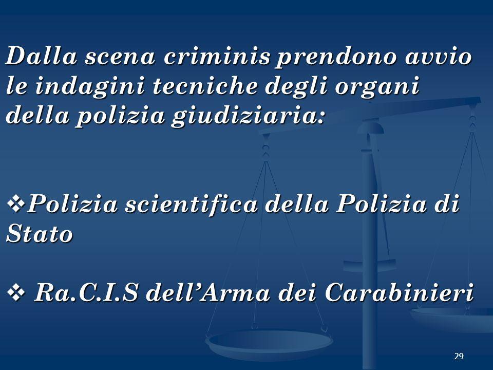 29 Dalla scena criminis prendono avvio le indagini tecniche degli organi della polizia giudiziaria: Polizia scientifica della Polizia di Stato Polizia