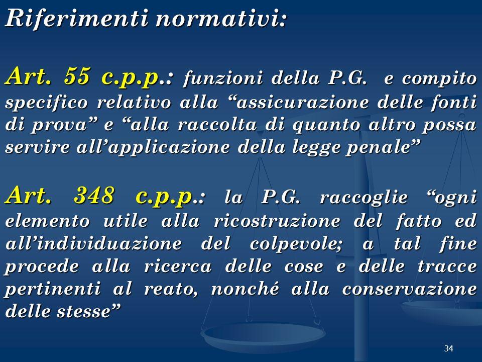 34 Riferimenti normativi: Art. 55 c.p.p.: funzioni della P.G. e compito specifico relativo alla assicurazione delle fonti di prova e alla raccolta di