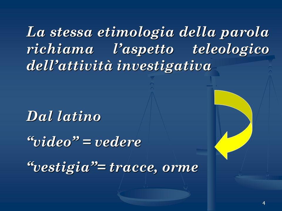 4 La stessa etimologia della parola richiama laspetto teleologico dellattività investigativa Dal latino video = vedere vestigia= tracce, orme