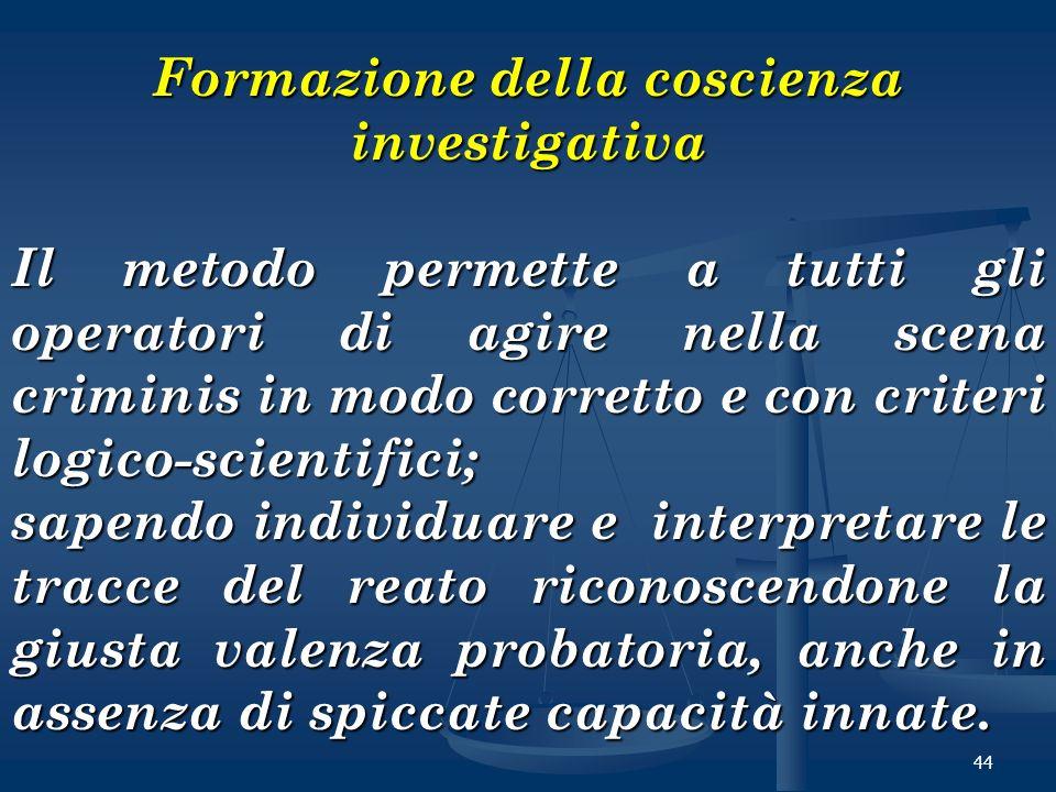 44 Formazione della coscienza investigativa Il metodo permette a tutti gli operatori di agire nella scena criminis in modo corretto e con criteri logi