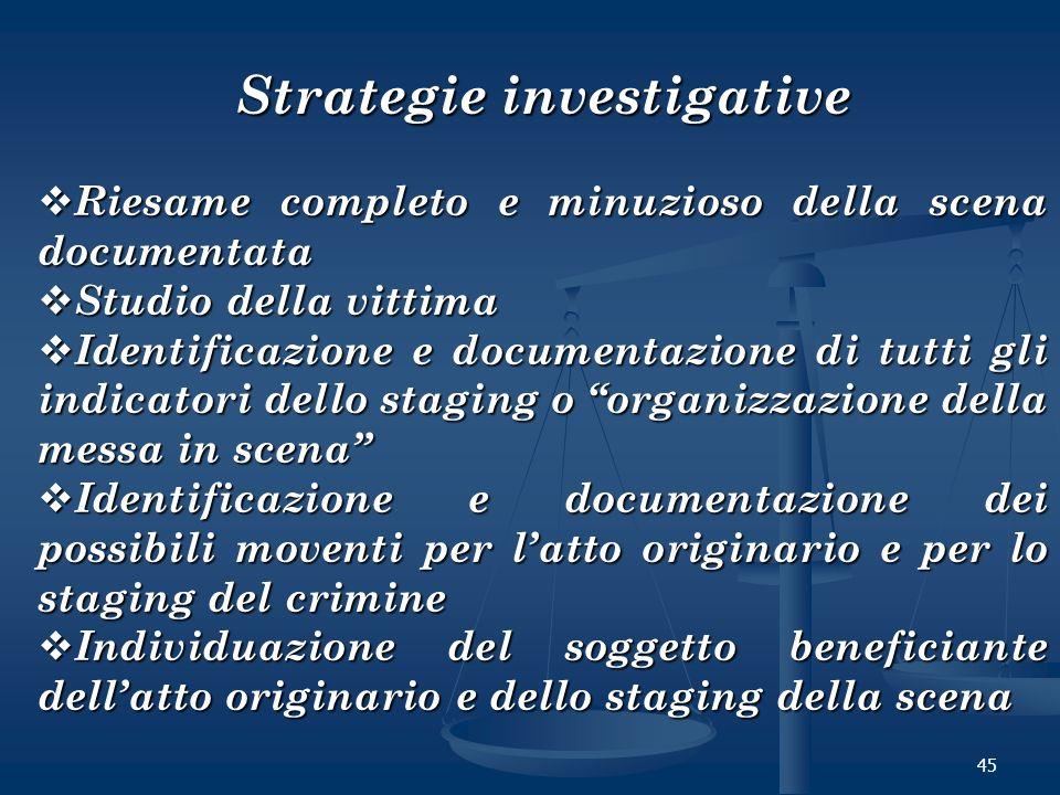 45 Strategie investigative Riesame completo e minuzioso della scena documentata Riesame completo e minuzioso della scena documentata Studio della vitt