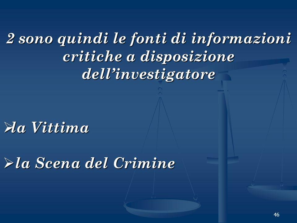 46 2 sono quindi le fonti di informazioni critiche a disposizione dellinvestigatore la Vittima la Vittima la Scena del Crimine la Scena del Crimine