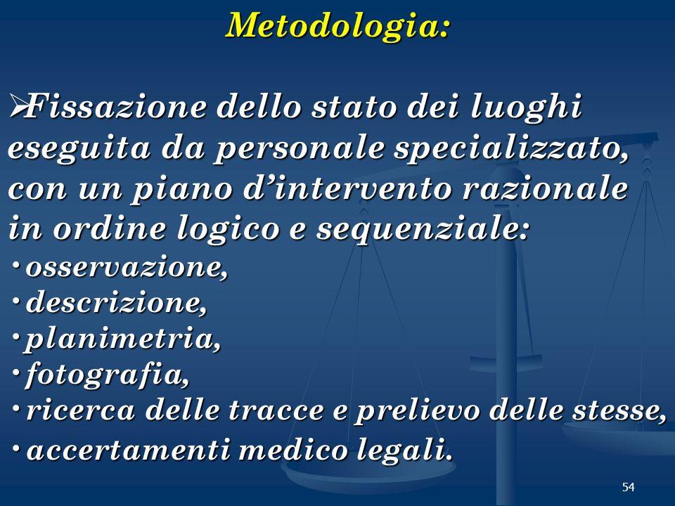 54Metodologia: Fissazione dello stato dei luoghi eseguita da personale specializzato, con un piano dintervento razionale in ordine logico e sequenzial