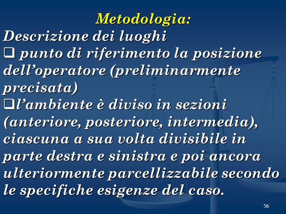 56 Metodologia: Descrizione dei luoghi punto di riferimento la posizione delloperatore (preliminarmente precisata) punto di riferimento la posizione d