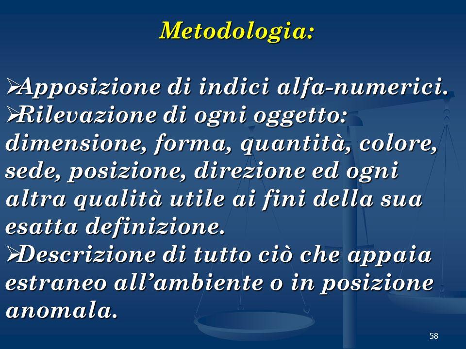 58 Metodologia: Metodologia: Apposizione di indici alfa-numerici. Apposizione di indici alfa-numerici. Rilevazione di ogni oggetto: dimensione, forma,