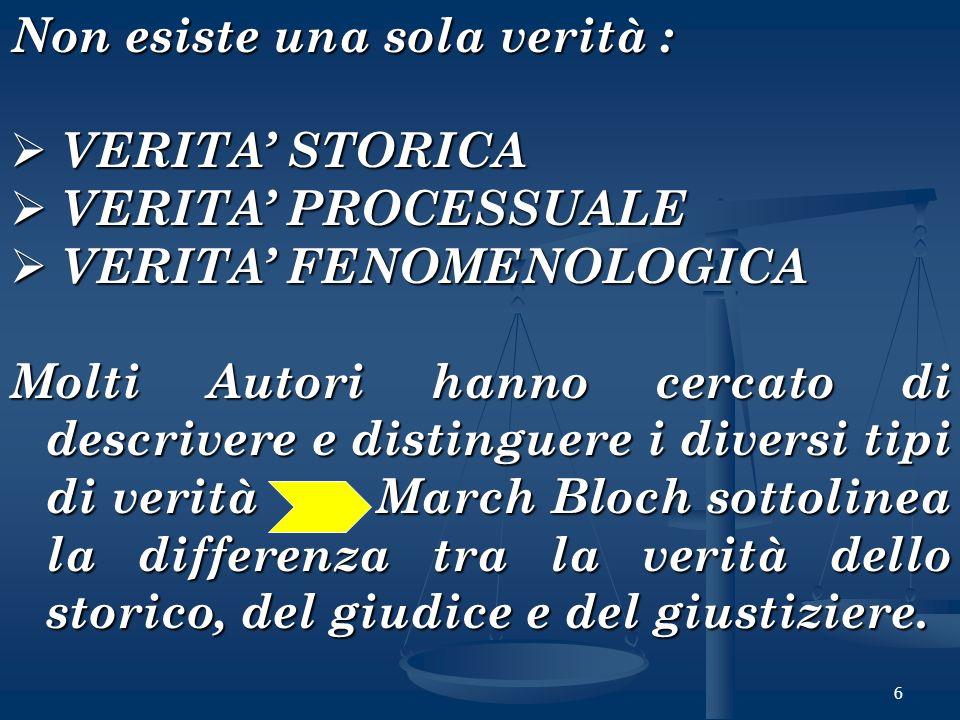 6 Non esiste una sola verità : VERITA STORICA VERITA STORICA VERITA PROCESSUALE VERITA PROCESSUALE VERITA FENOMENOLOGICA VERITA FENOMENOLOGICA Molti A