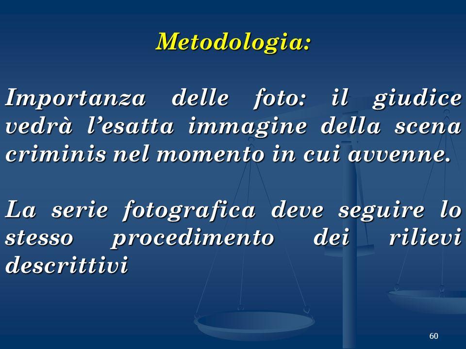 60 Metodologia: Importanza delle foto: il giudice vedrà lesatta immagine della scena criminis nel momento in cui avvenne. La serie fotografica deve se