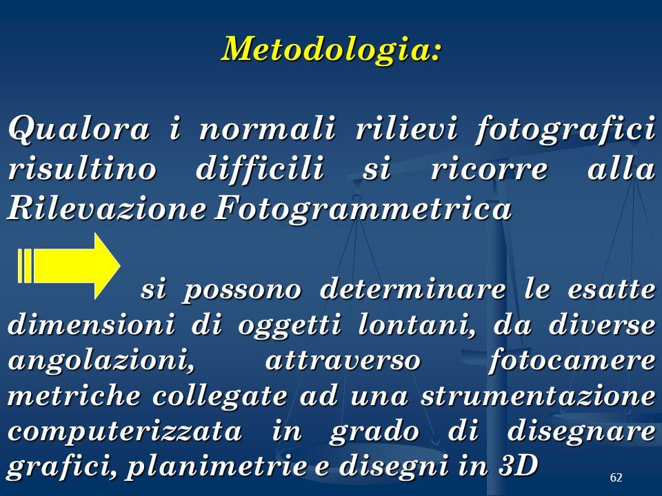 62 Metodologia: Qualora i normali rilievi fotografici risultino difficili si ricorre alla Rilevazione Fotogrammetrica si possono determinare le esatte